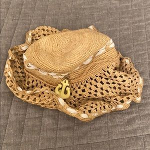 juicy couture straw beach hat w. anchor & heart
